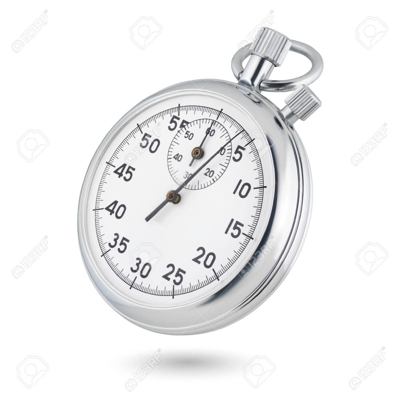 Classic metallic chrome mechanical analog stopwatch isolated on white background. - 137066256