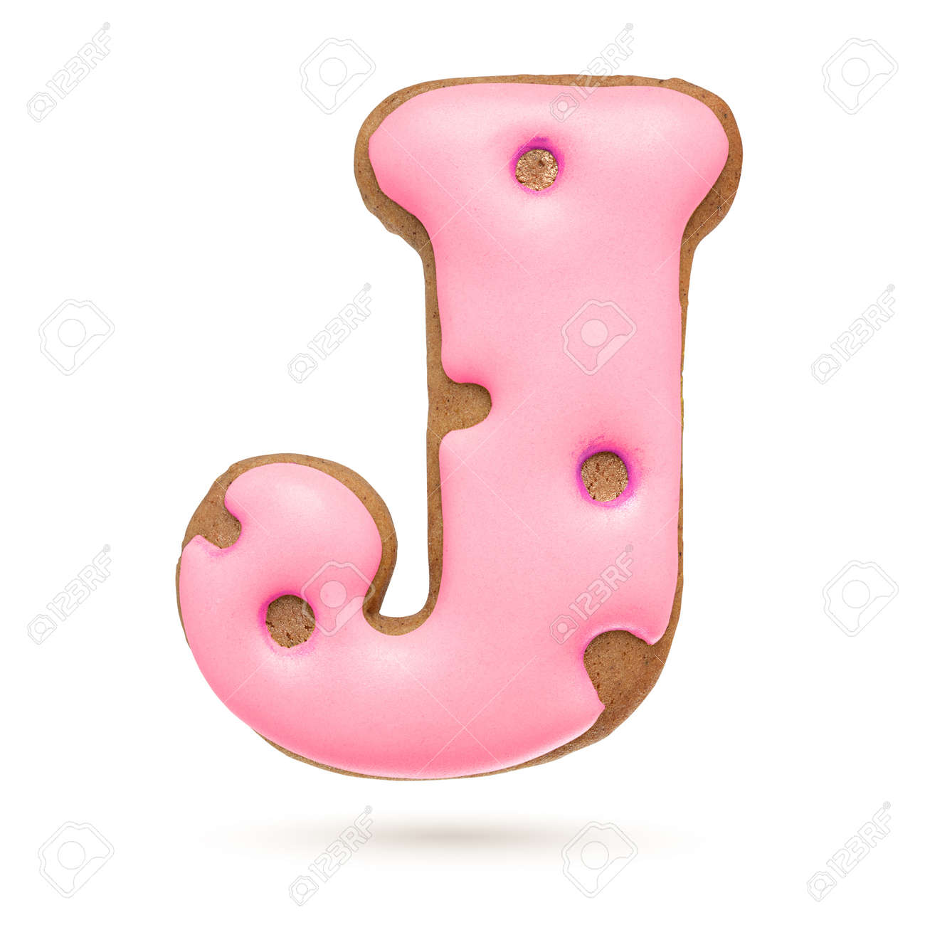 Capital letter J. Pink gingerbread biscuit isolated on white background. Christmas decoration - 156519768