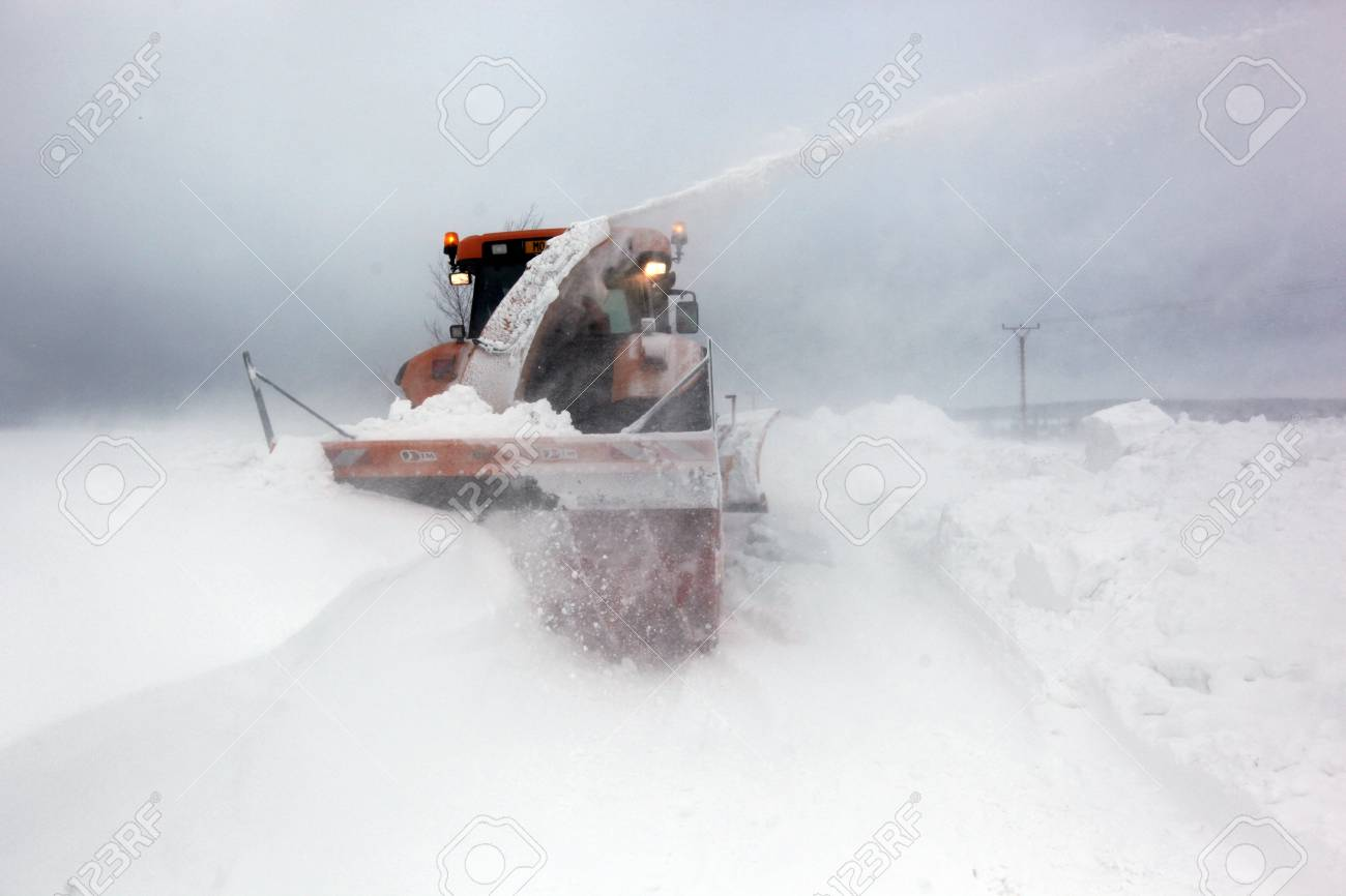 PROTIVANOV, CZECH REPUBLIC, 14 FEBRUARY: Strong winds and snow caused the disaster on the roads near Protivanov by Prostejov on 16th February, 2012, in the Czech Republic. Stock Photo - 12754478