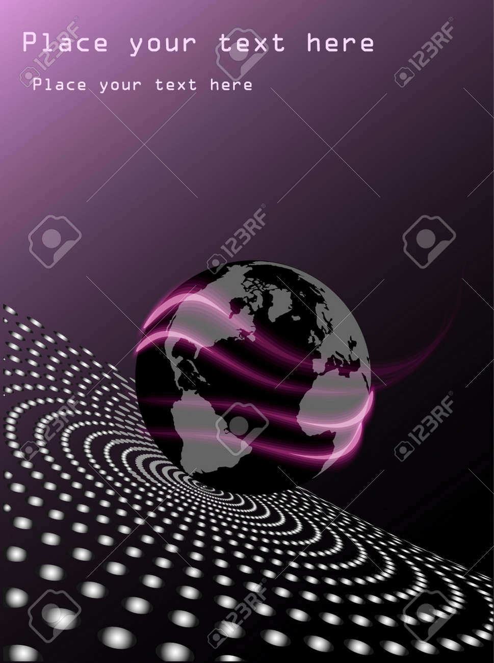 purple abstract business background with earth and geometric shapes Stock Vector - 8464682