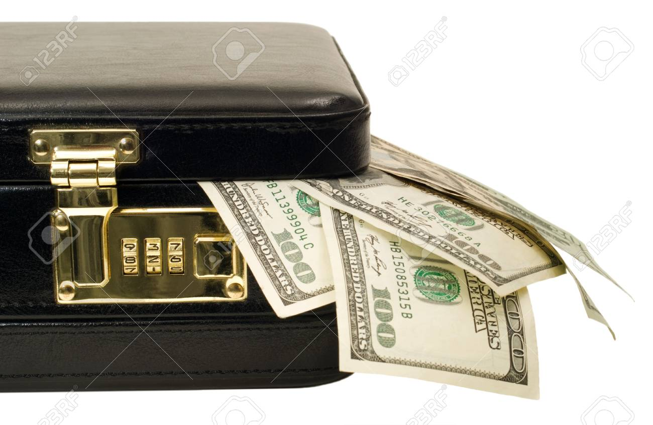 A locked briefcase with american currency coming out of the corner. Stock Photo - 7029674