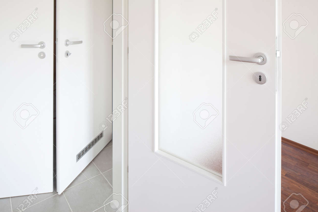 White Door With Glass Panels Stock Photo Picture And Royalty Free