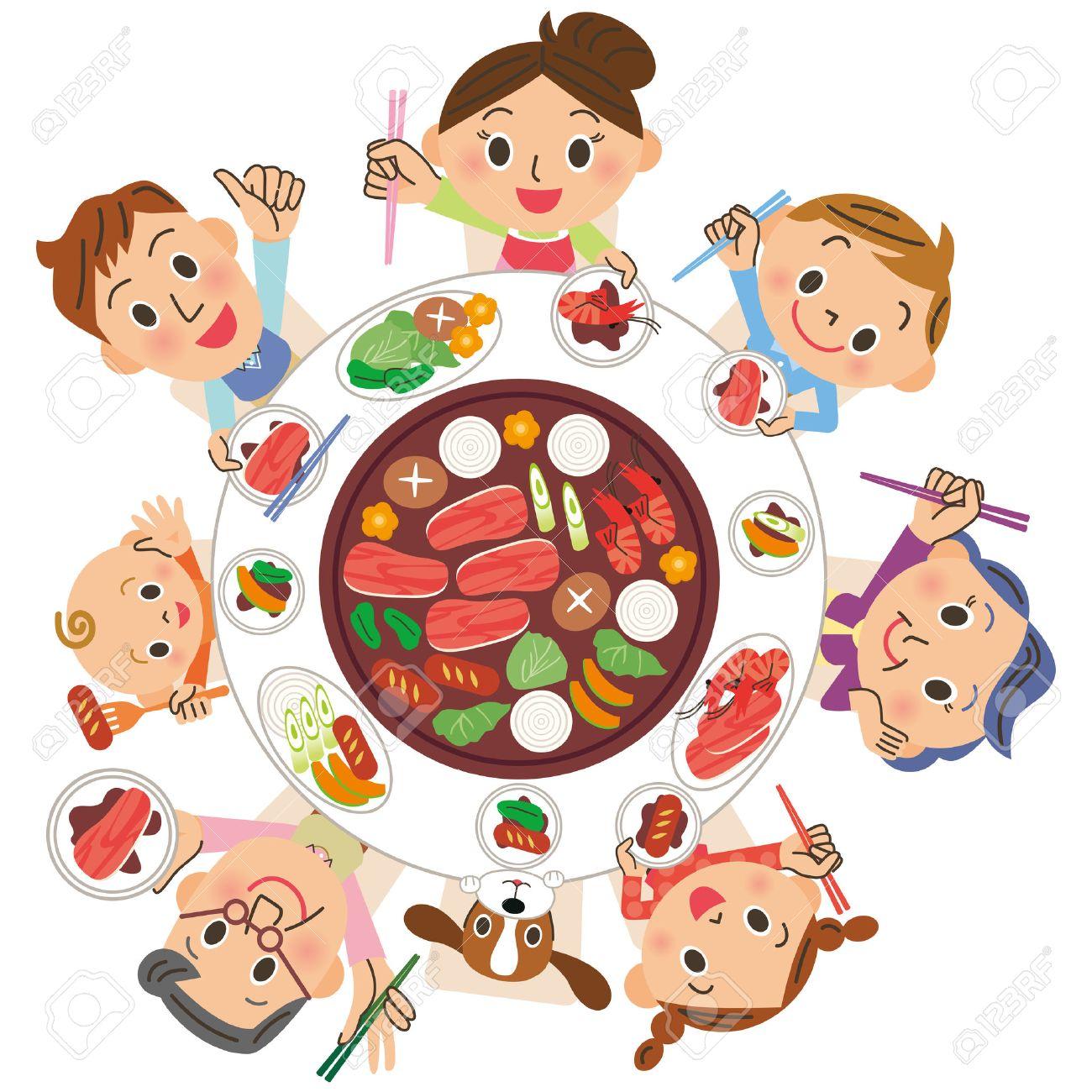 焼き肉を食べる 3 世代家族のイラスト素材ベクタ Image 54779339