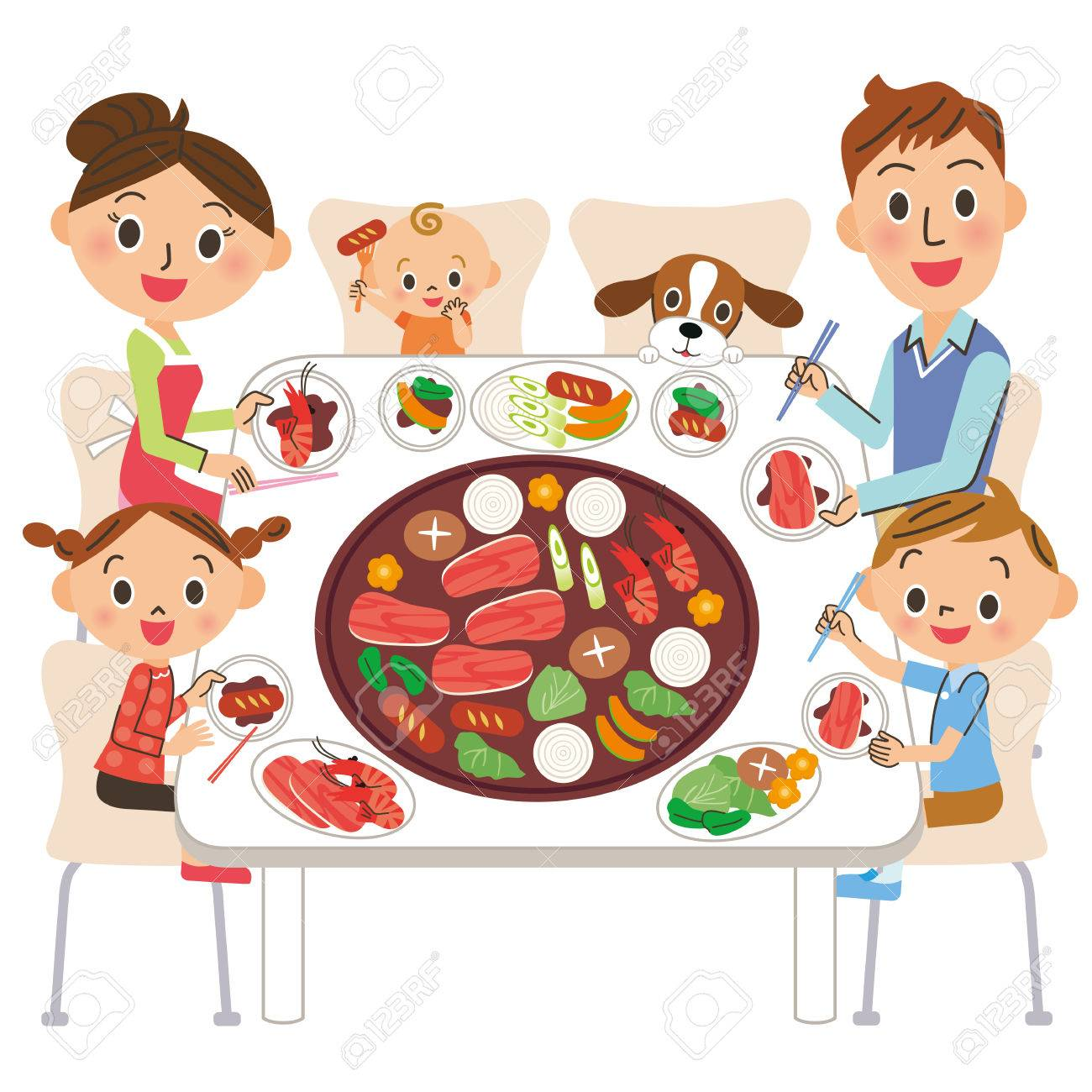 family who eats roasted meat - 54779345