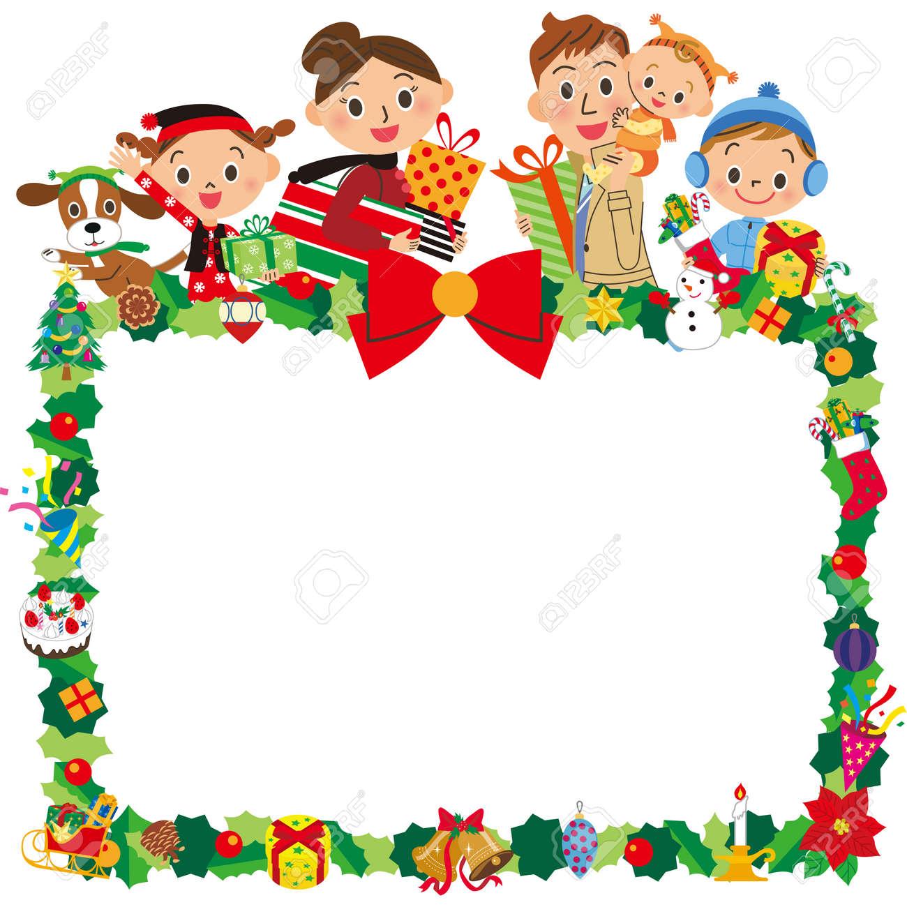 Family And Christmas Frame Stock Vector