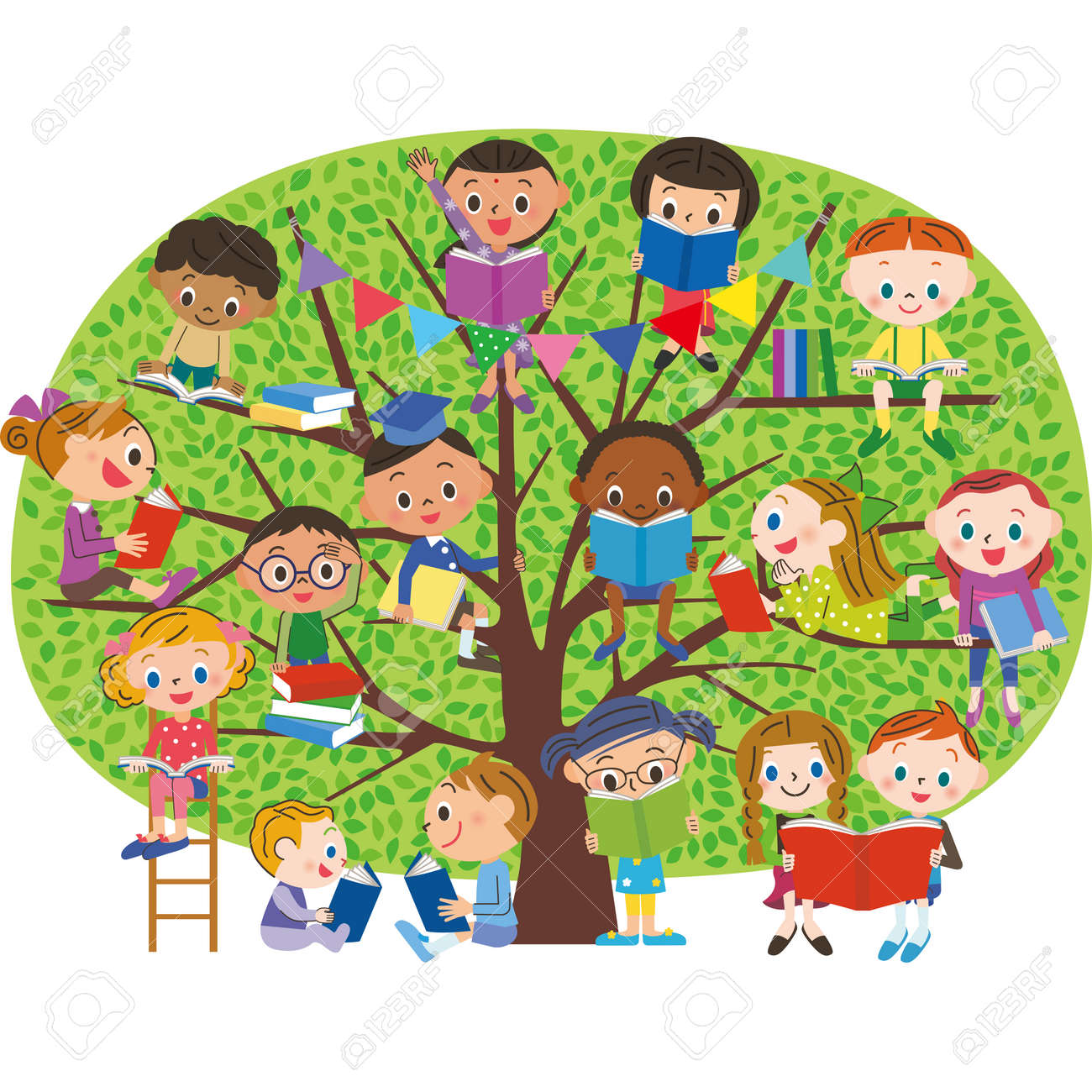 Children to read a book in the fresh green of the tree - 84974848