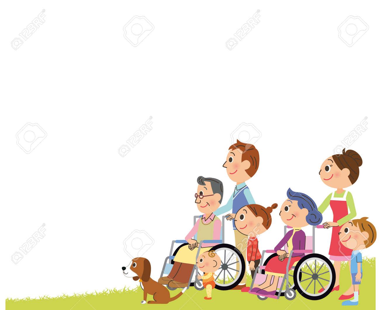 車椅子3代目家族横イラスト のイラスト素材 ベクタ Image