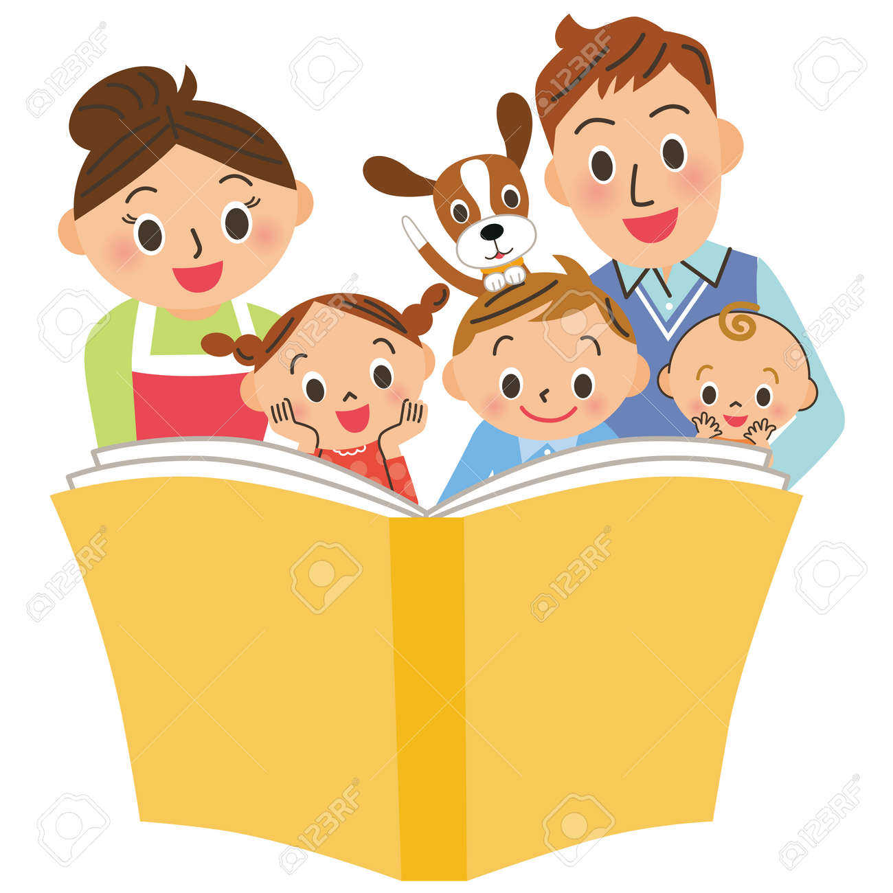 Reading books with parents and children - 112803101