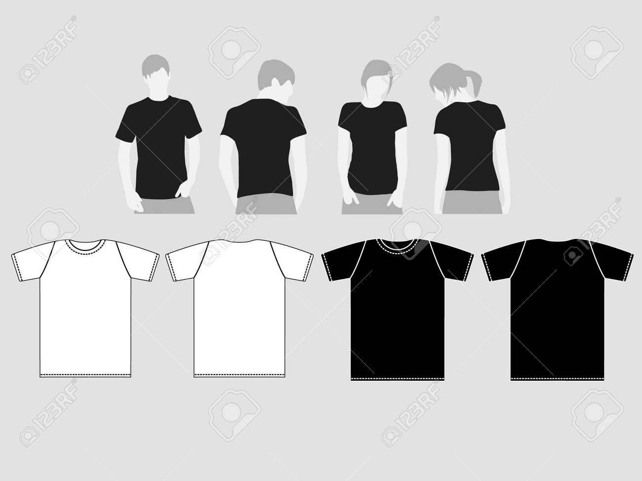 Black t shirt vector - Black T Shirt Vector Vector Black And White Patterns Of T Shirts For Men And