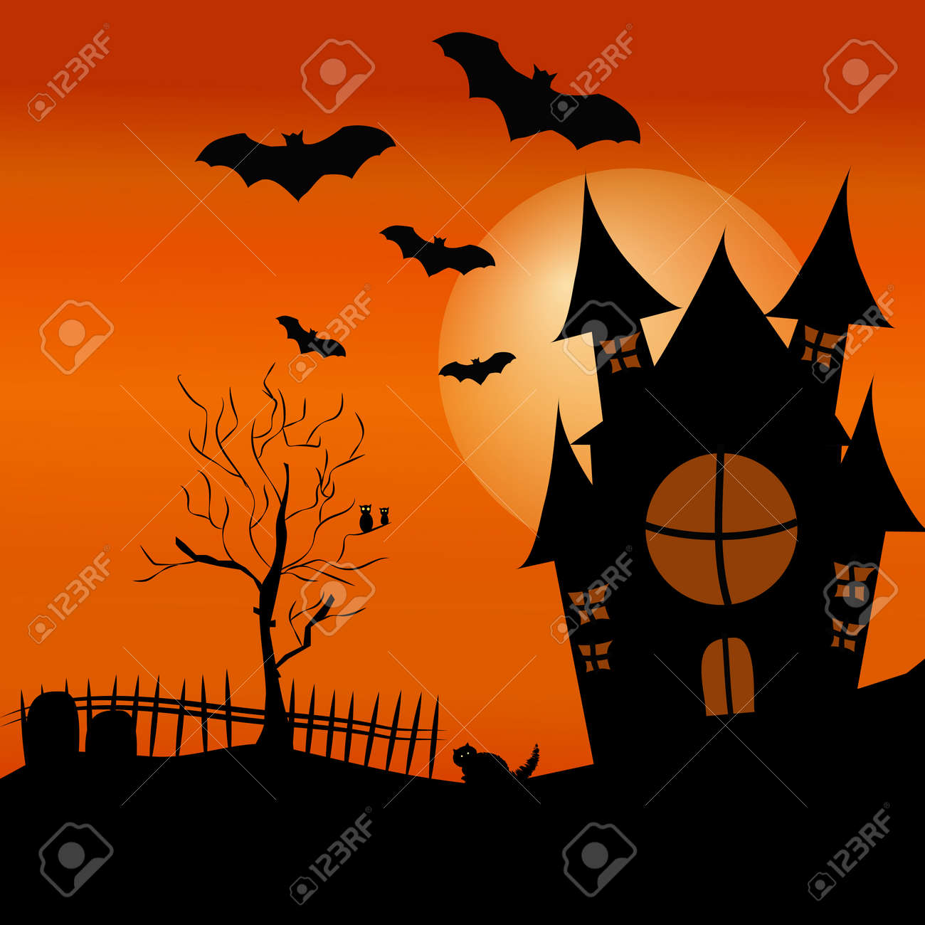halloween poster template with house tree bat spider cat