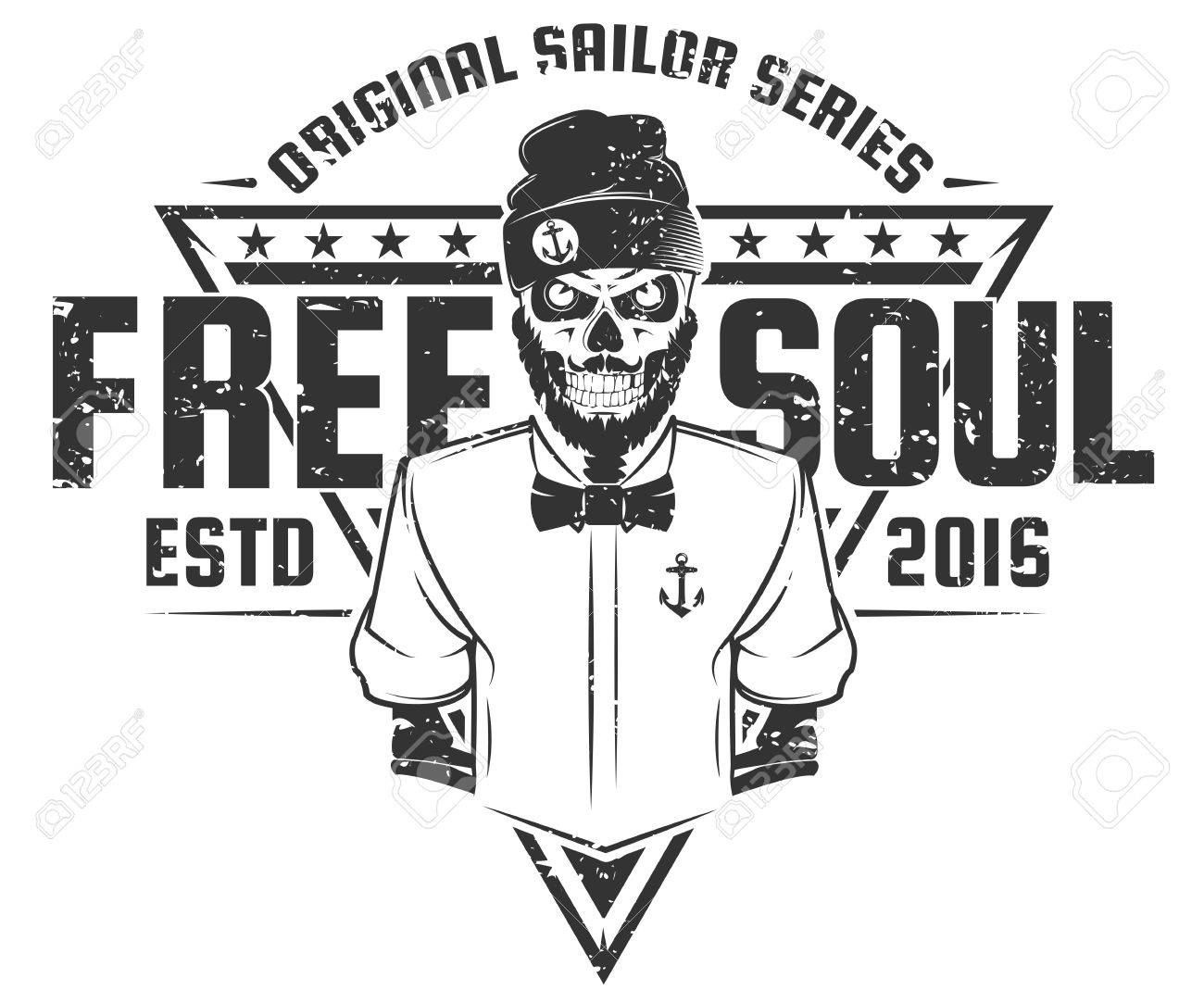 Design t shirt free - Free Soul Sailor Style Design Of Print For T Shirts Stock Vector 52232979