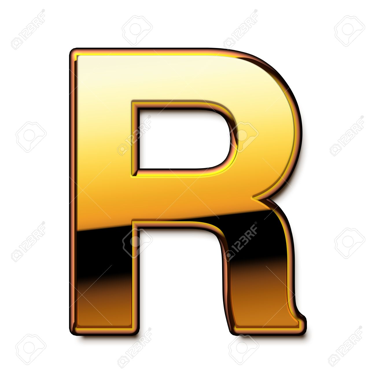 gold letter r isolated stock photo 21651559
