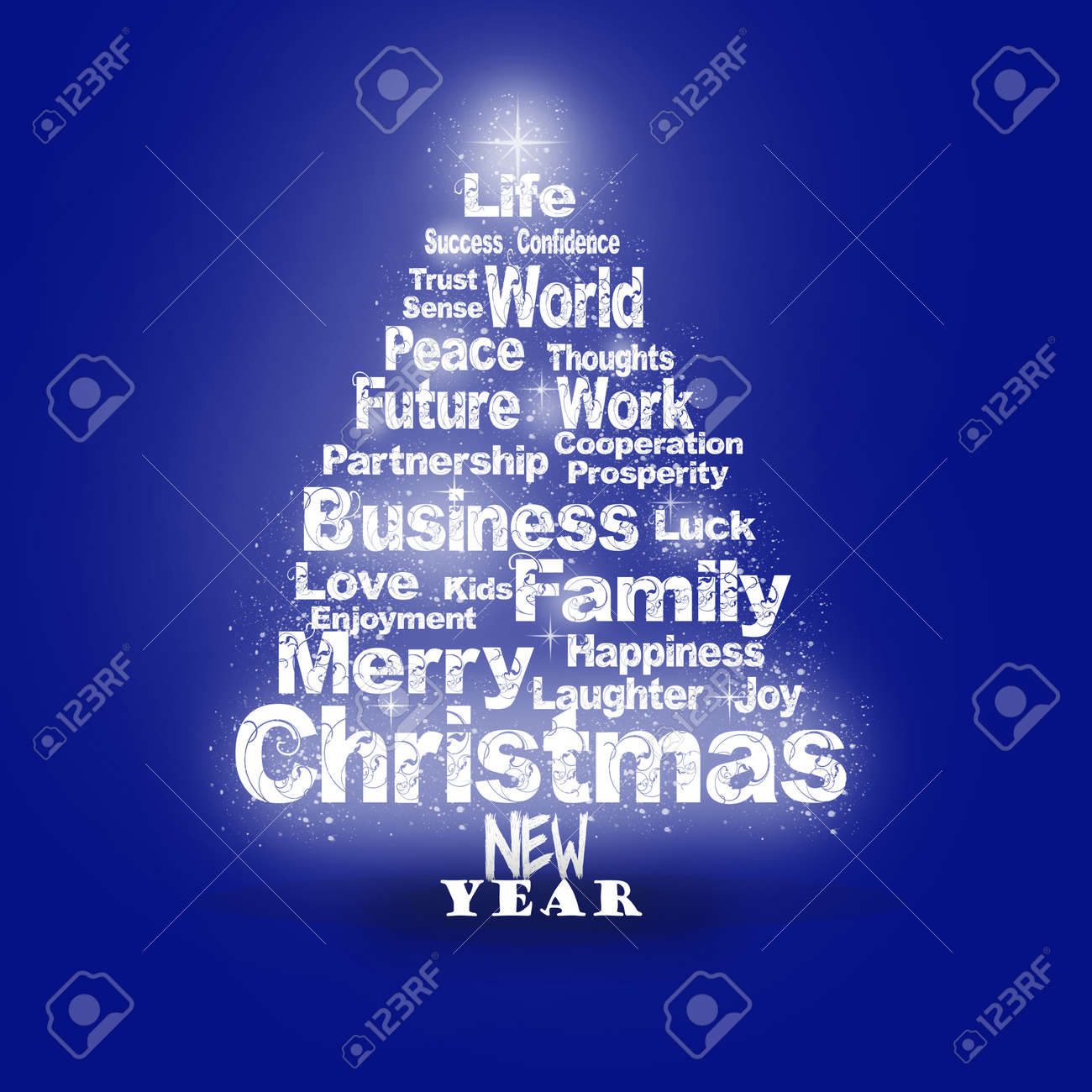 Abstract Christmas Greeting With Season Wishes In Blue Colors