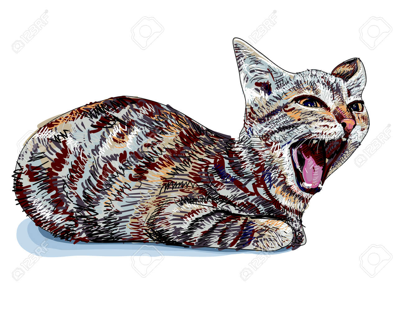 The little cute cat is yawning Stock Vector - 17309243