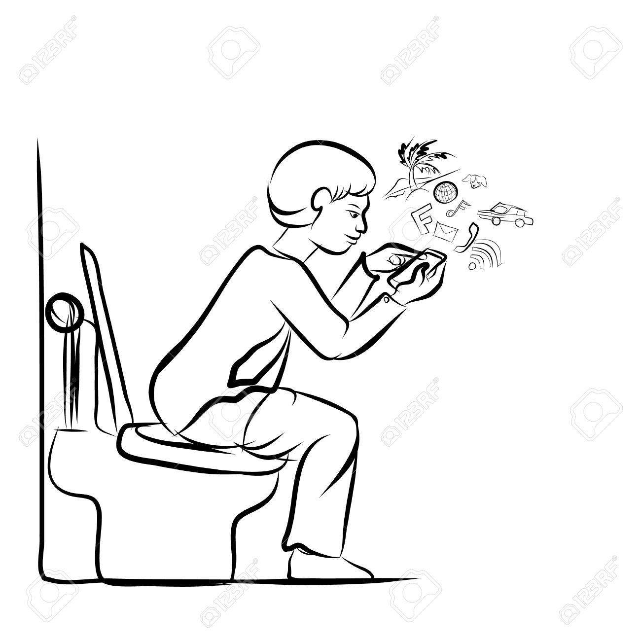 Drawing Of Man Using Mobile Phone For Social Network In Toilet Stock ...
