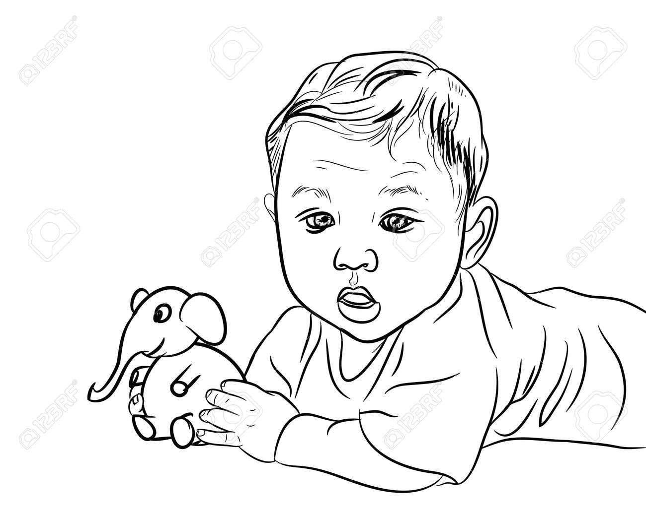 banque dimages dessin de bb de sexe masculin jouant lphant jouet sur blanc