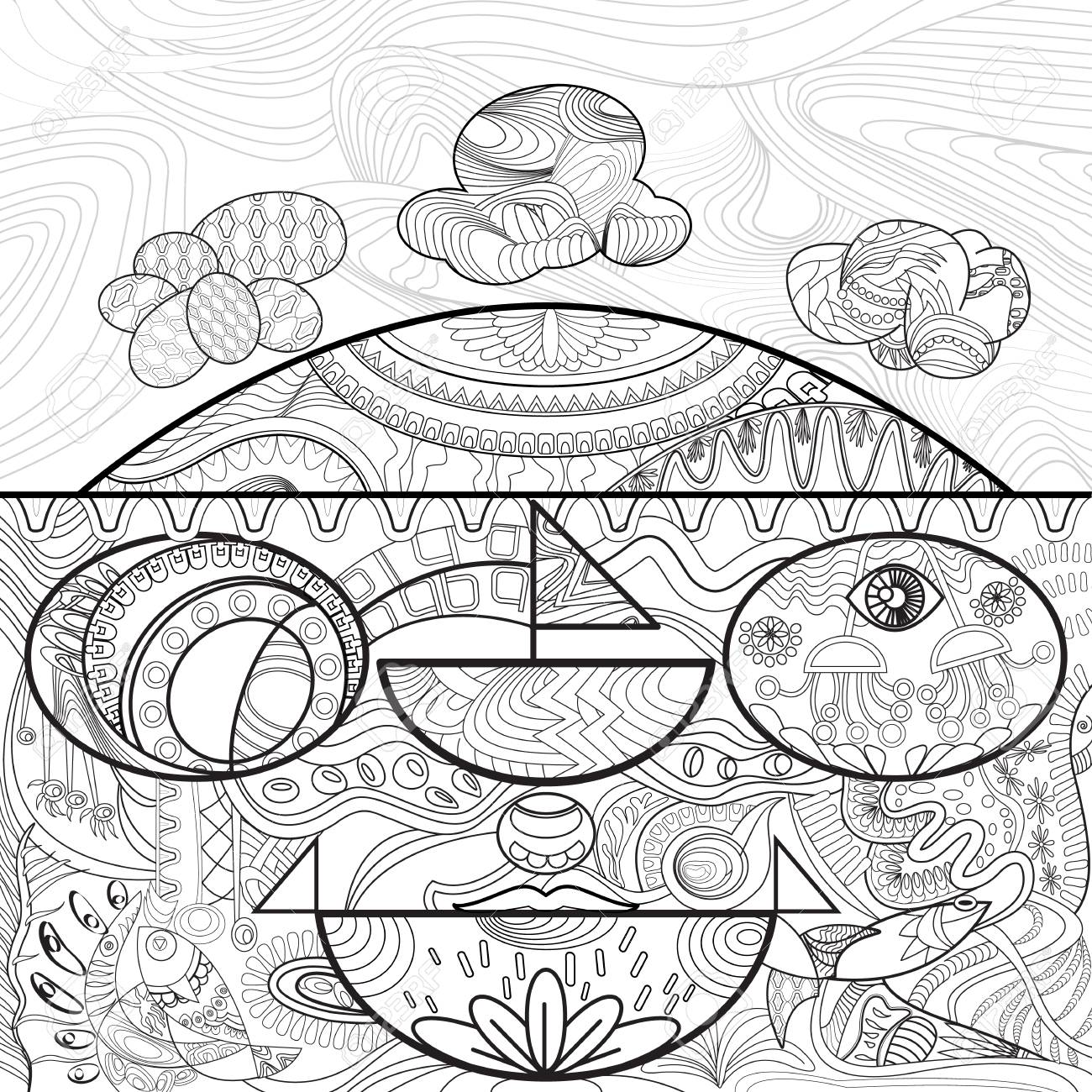 Line Art For Coloring Of Abstract Shape And On White Backgroundhand Drawn Sketch