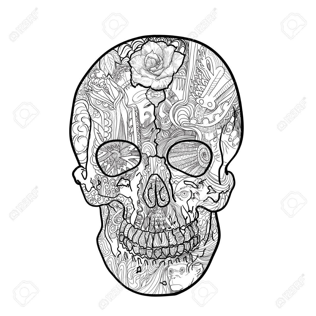 Línea De Arte Del Cráneo Para Colorear Dibujo Con Garabato