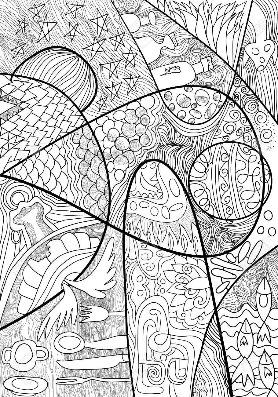 La Línea Abstracta, Dibujado A Mano Dibujo Para Adultos Antiestrés ...