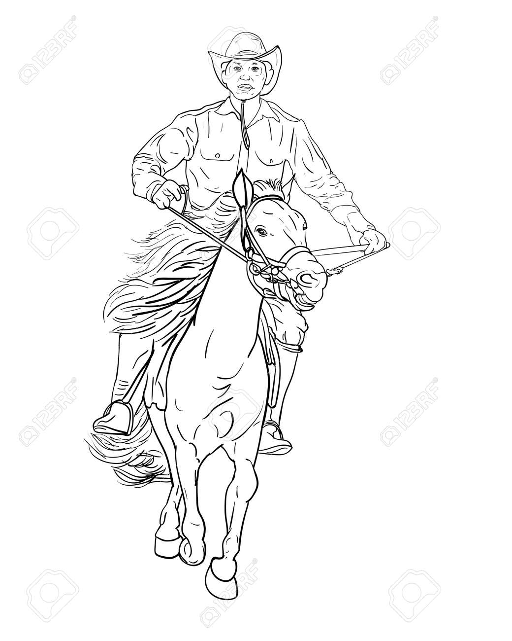 Drawing Black And White Of Cowboy Riding Horse Vector Illustration Royalty Free Cliparts Vectors And Stock Illustration Image 109932726