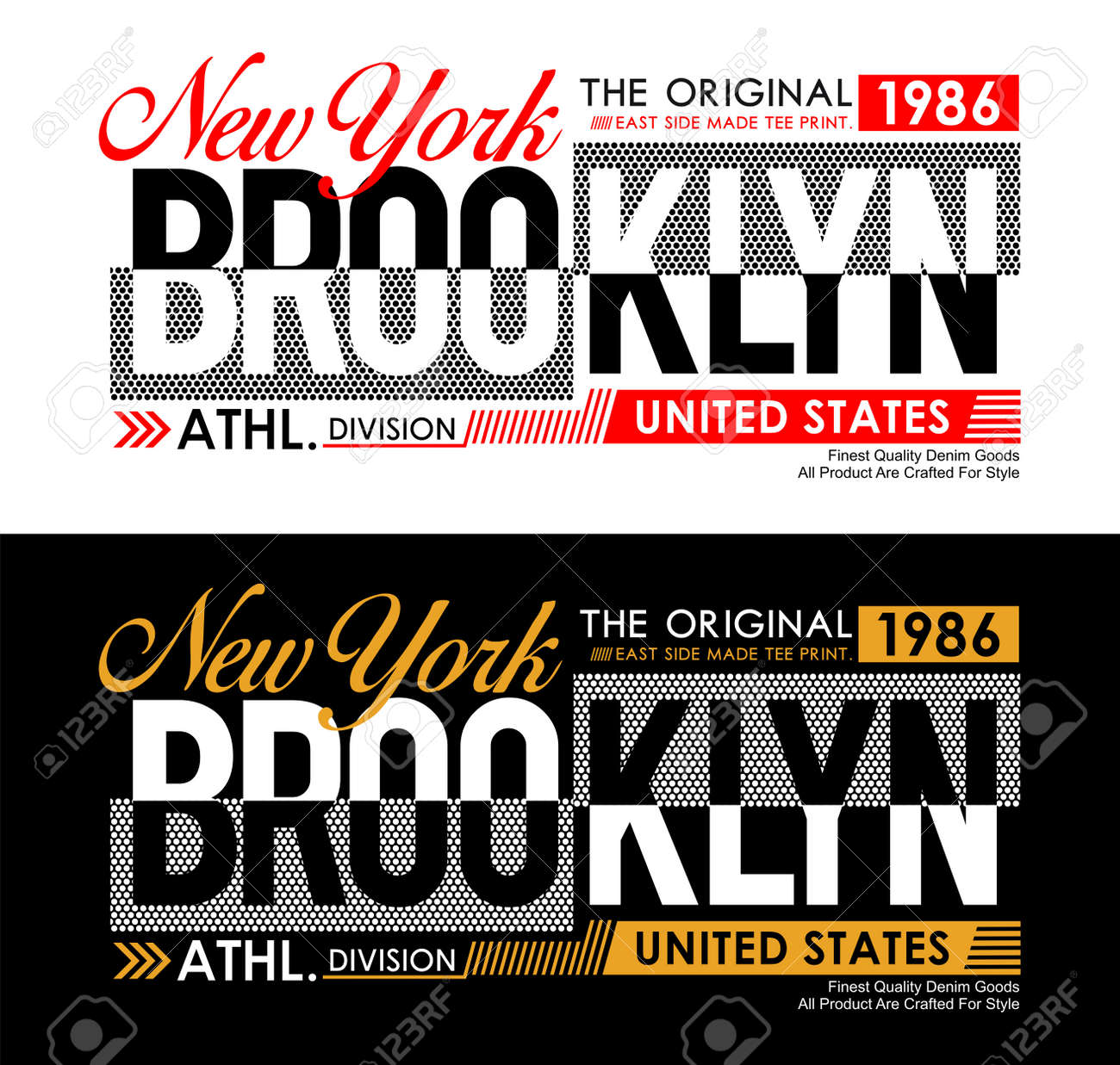 New York Brooklyn typography USA style for T-shirt graphics. Vector illustrations - 127329093