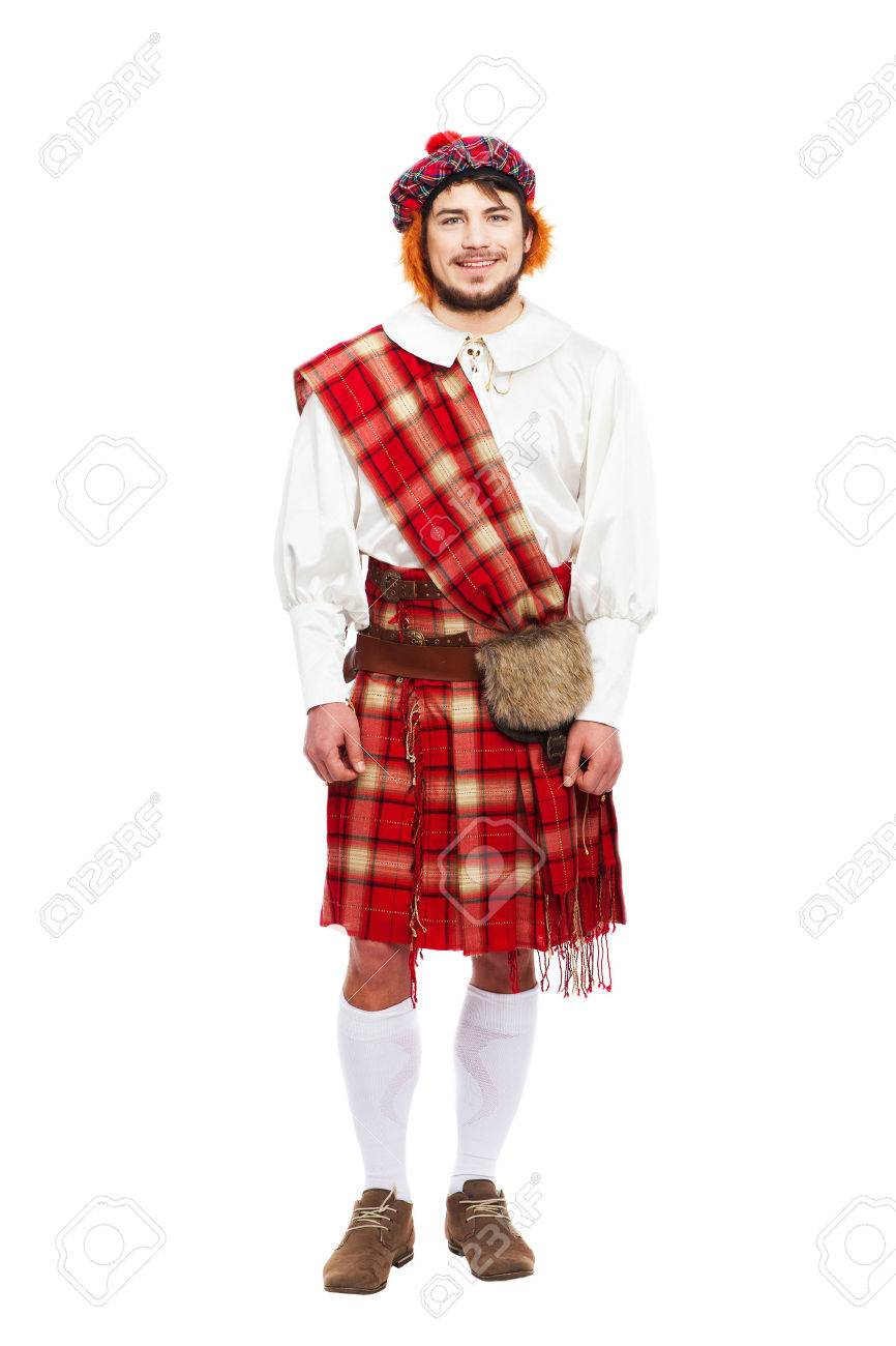 scottish traditions concept with person wearing kilt isolated