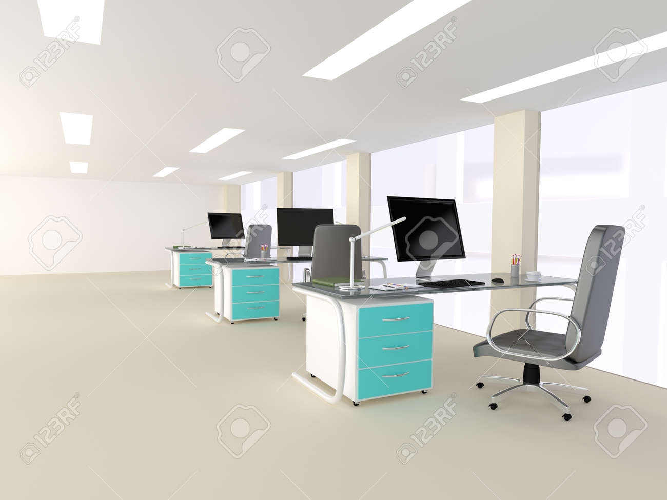 modern minimalist office. Interior Of A Bright White Modern Minimalist Office With Three Identical Workstations Turquoise Highlights 2