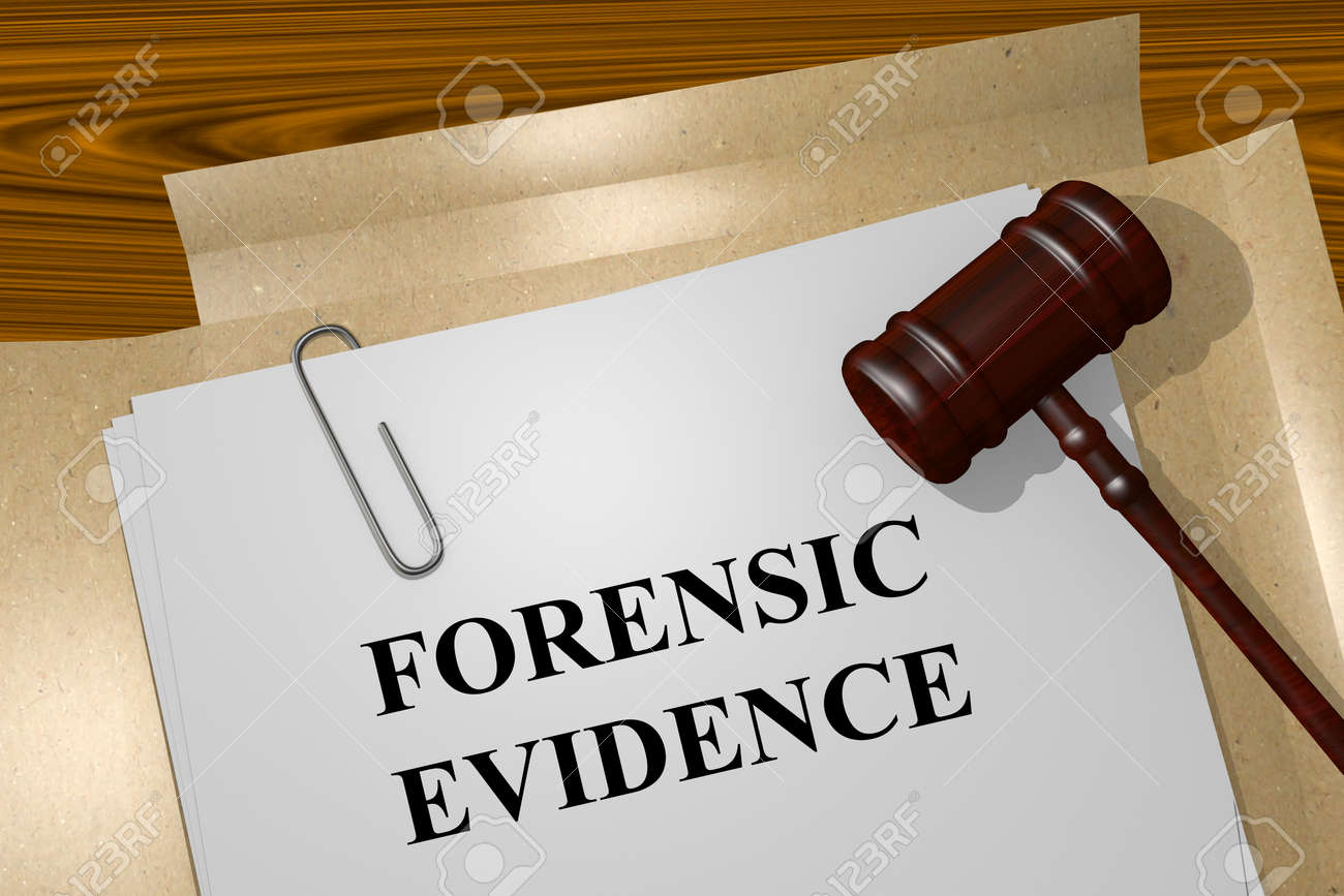 Render Illustration Of Forensic Evidence Title On Legal Documents Stock Photo Picture And Royalty Free Image Image 47834155