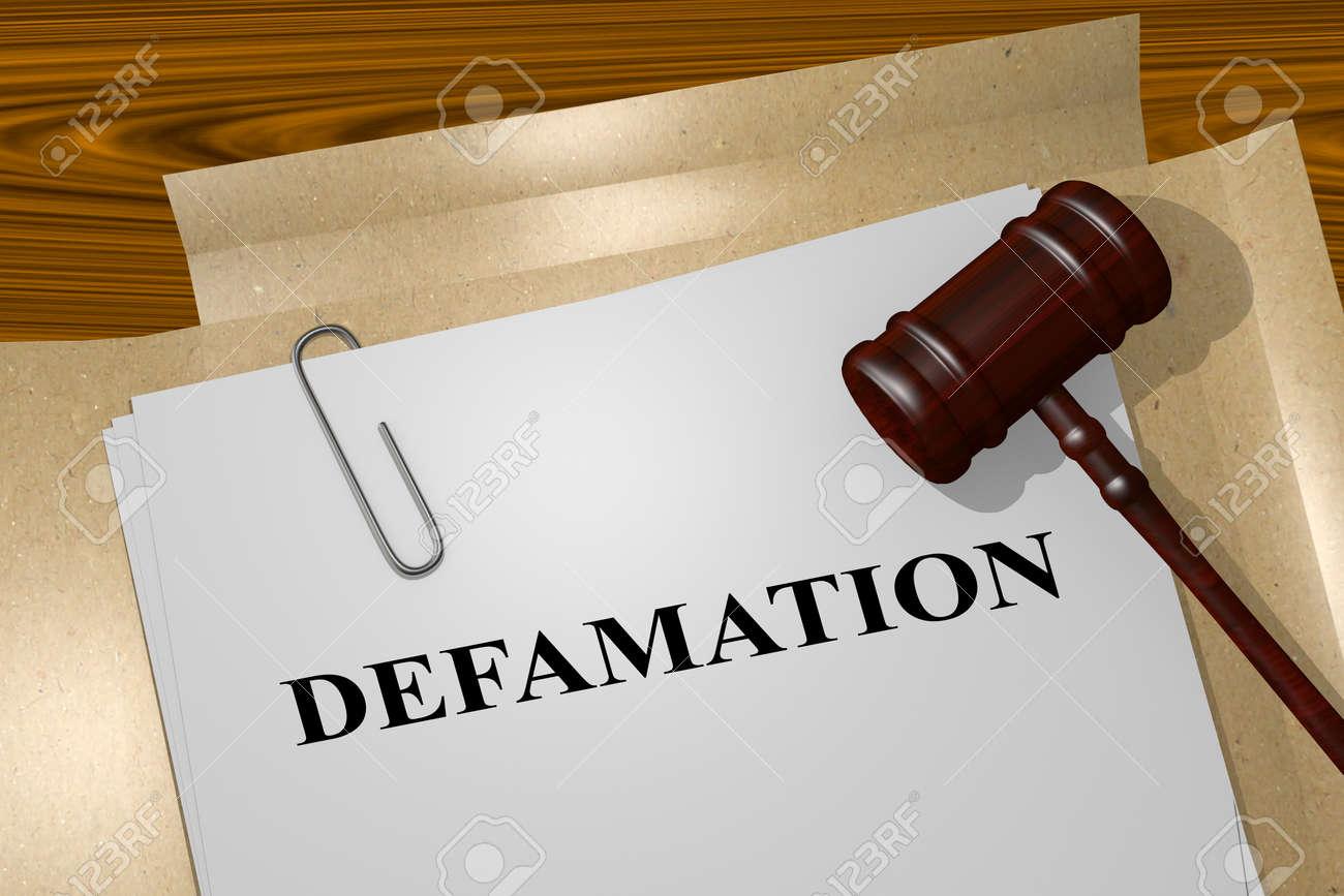 Render illustration of Defamation title on Legal Documents - 53793380