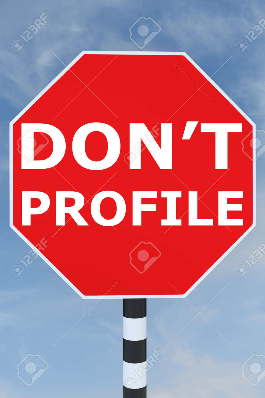d illustration of don t profile title on road stop sign stock 3d illustration of