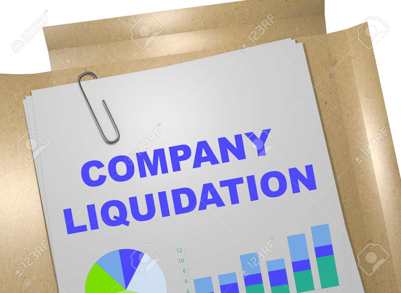 "3D illustration of ""COMPANY LIQUIDATION"" title on business document - 63224820"