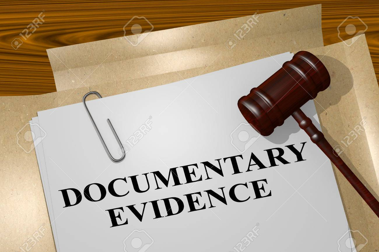 3d illustration of documentary evidence title on legal document
