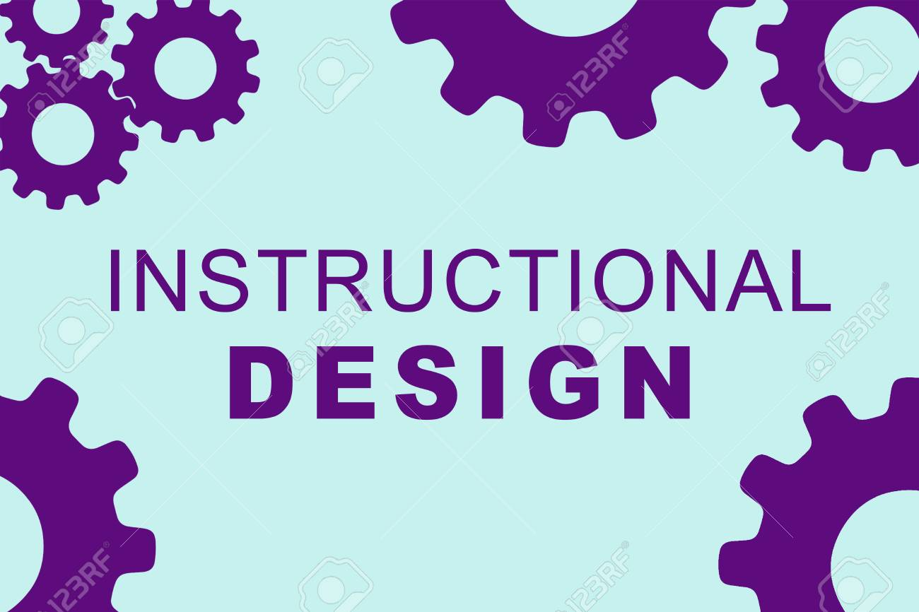 INSTRUCTIONAL DESIGN sign concept illustration with purple gear wheel figures on pale blue background - 90601701