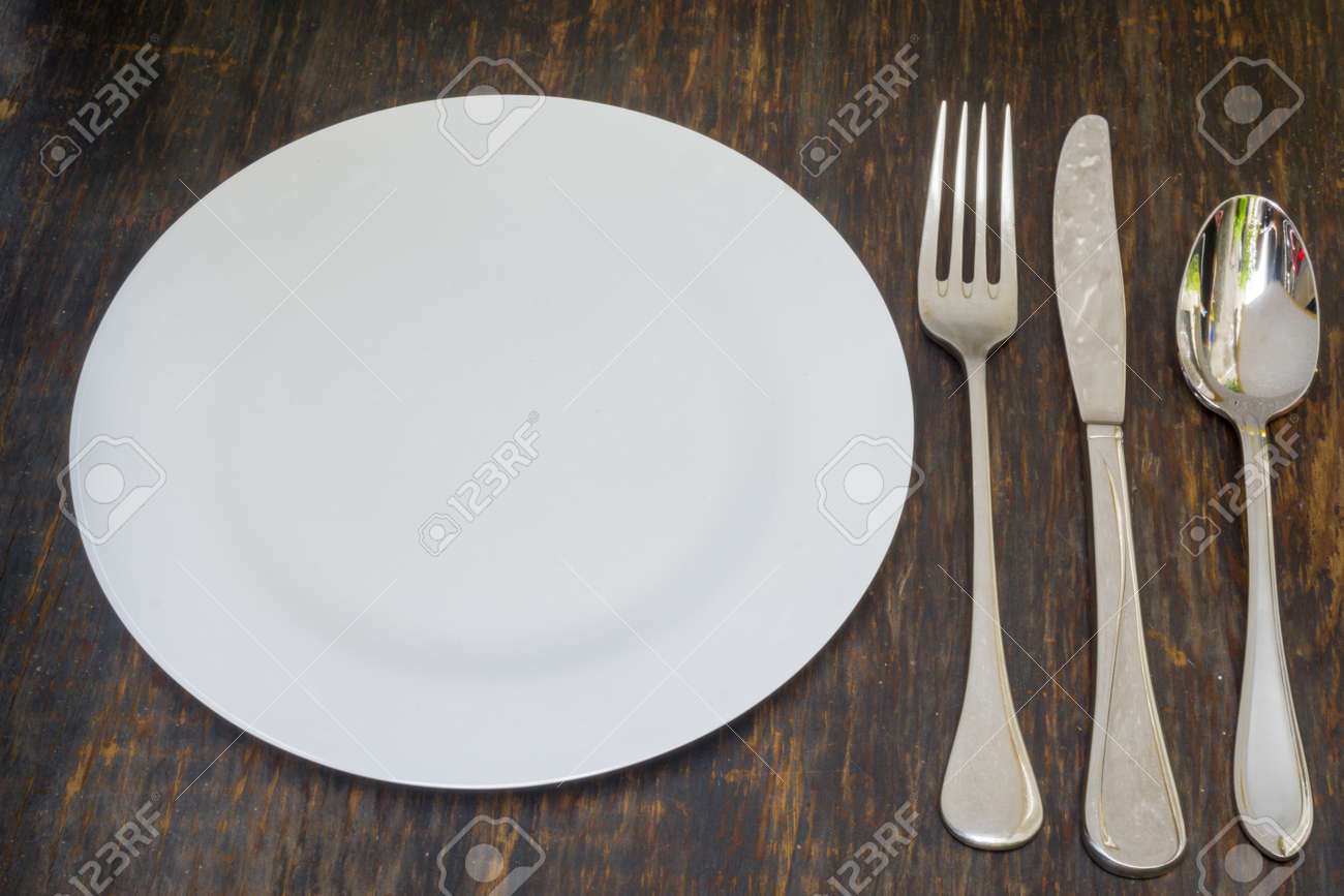 Table setting. Dinner plate fork spoon and knife Stock Photo - 49368713 & Table Setting. Dinner Plate Fork Spoon And Knife Stock Photo ...