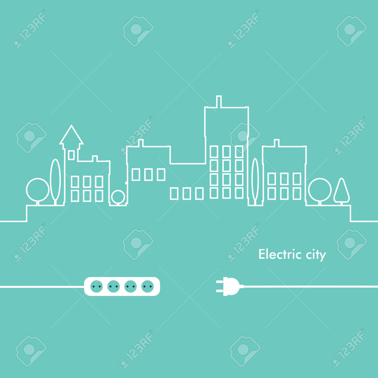 Concept Electric Circuit City. Vector Flat Design Royalty Free ...