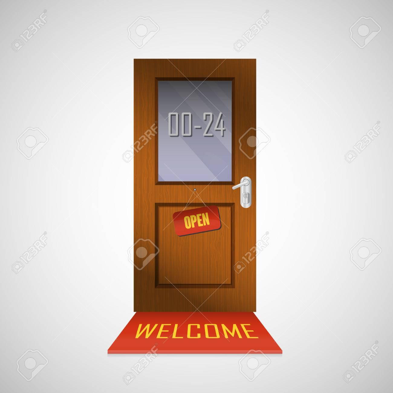 Open front door illustration Cartoon Front Door Is Open Around Clock With Sign Stock Vector 33911393 123rfcom Front Door Is Open Around Clock With Sign Royalty Free Cliparts