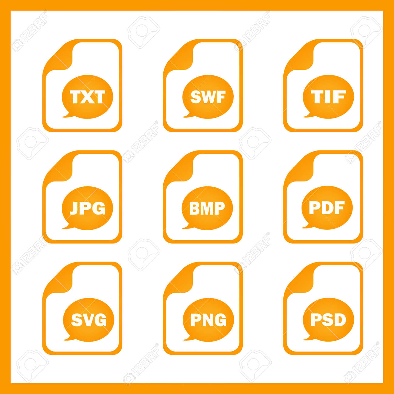 Set of icons indicating the digital formats Stock Vector - 38206264