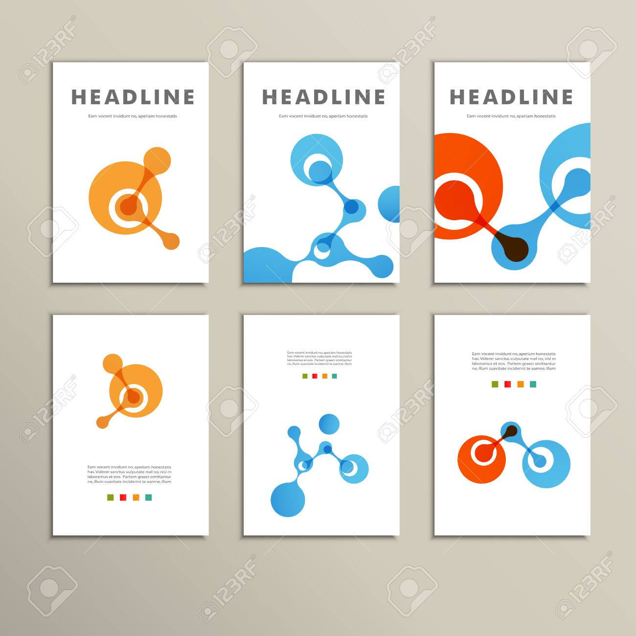 Six vector pattern with abstract figures brochures - 38674151