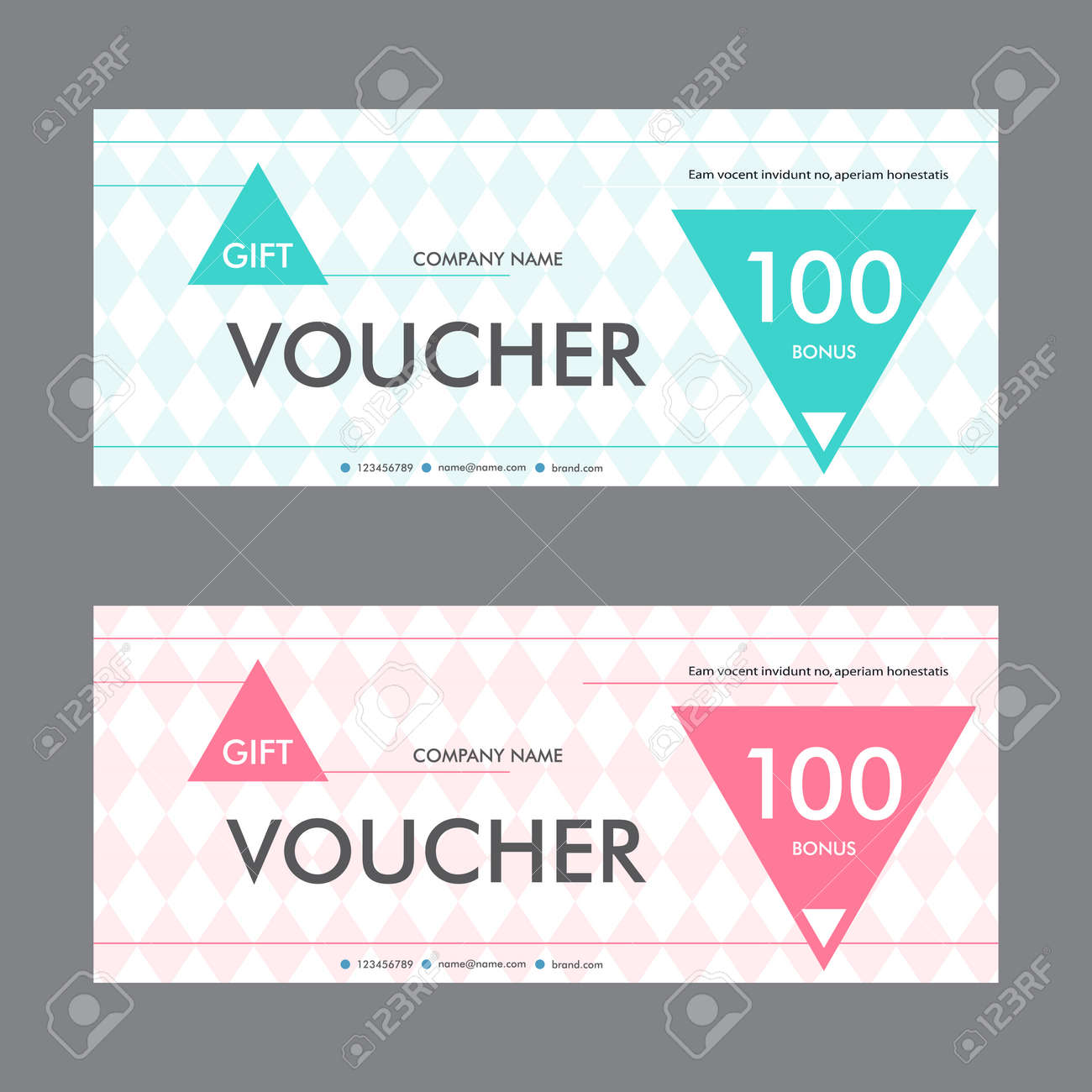 Vector illustration. Template gift voucher with background of treugolnymh elements. Beautiful design certificate. - 51640116