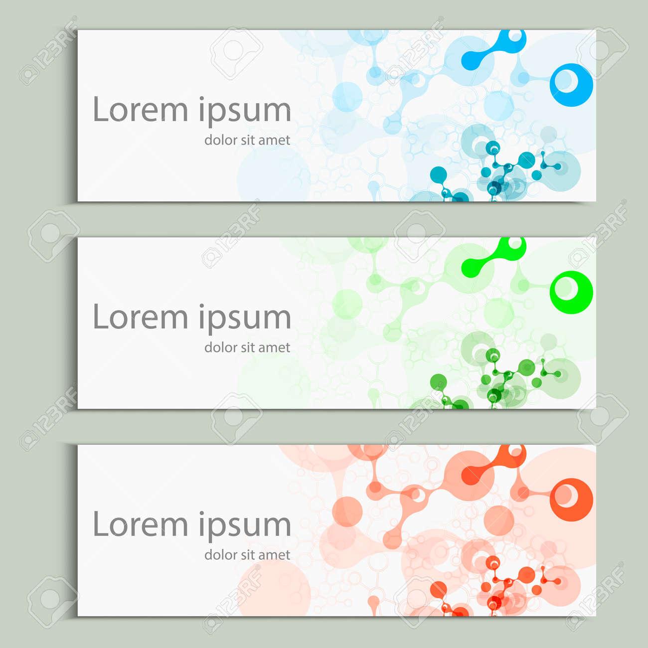 Abstract molecules banner design. Vector cover template. - 59921162