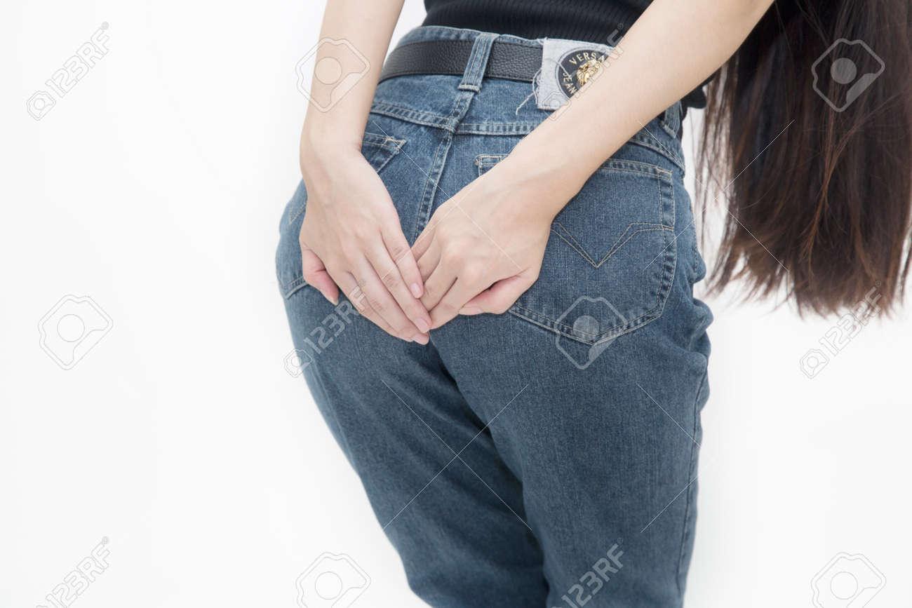 Pretty girl has diarrhea in her jeans