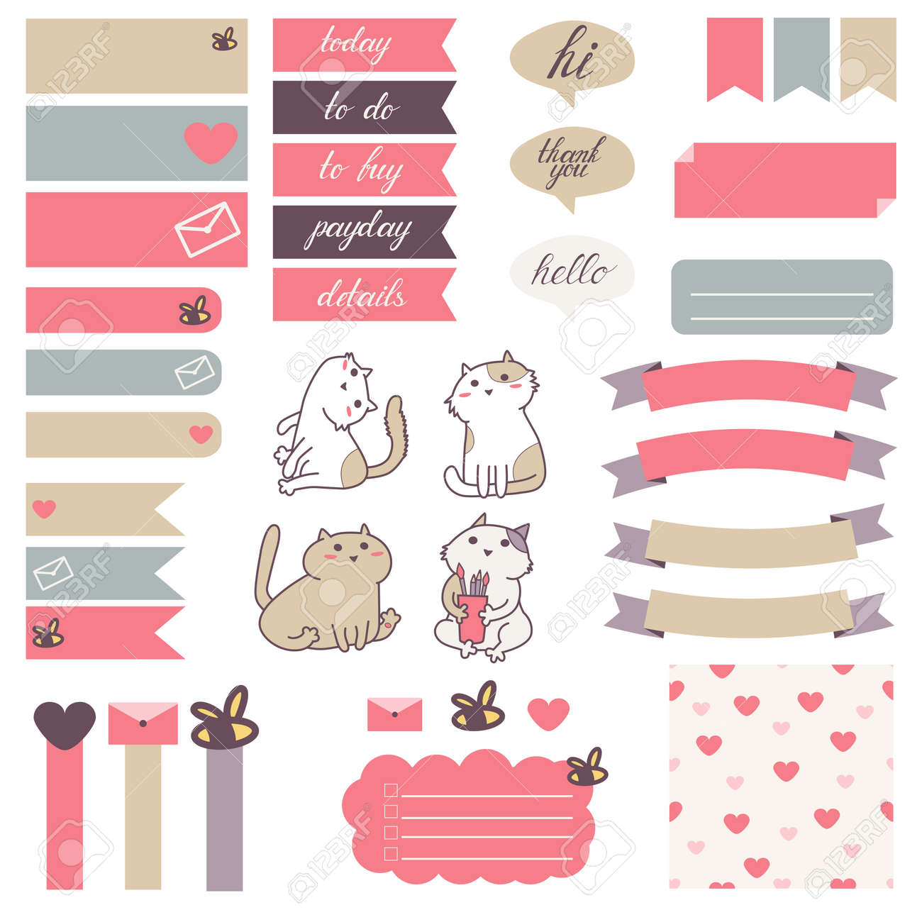 Gatos Lindo Y Patrón De Corazón En Color Rosa Pastel, Beige Y Gray ...
