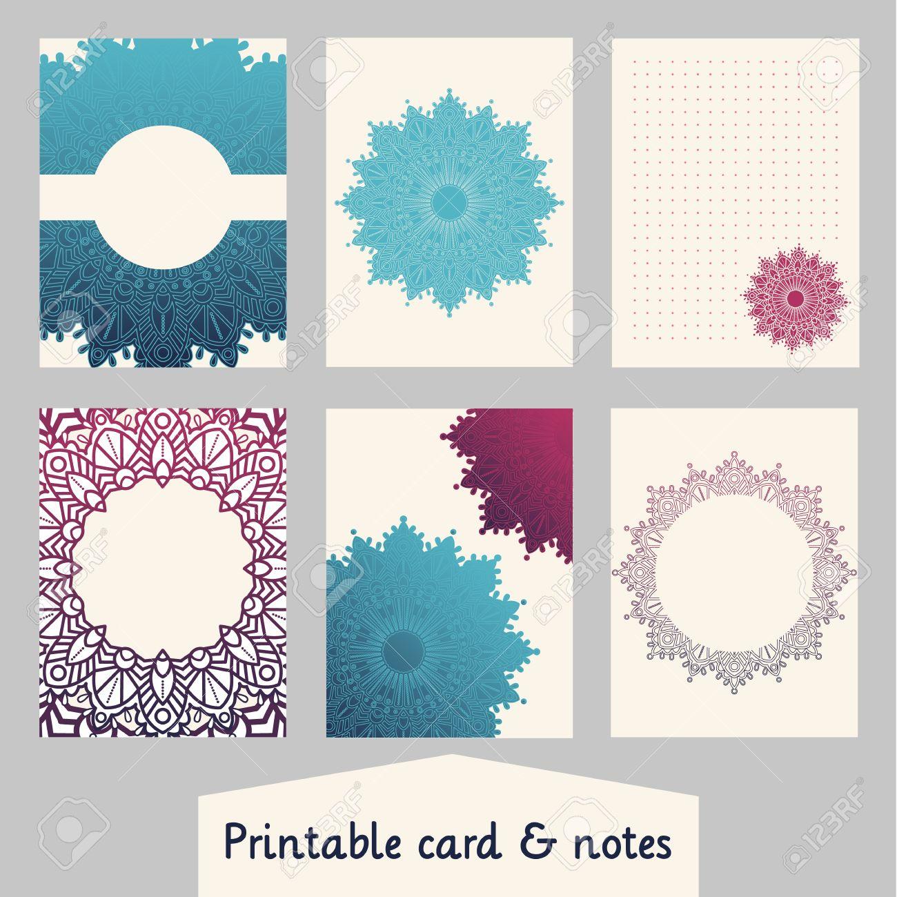 Conjunto De Tarjetas Creativas Con El Diseño De Mandalas. Plantilla ...