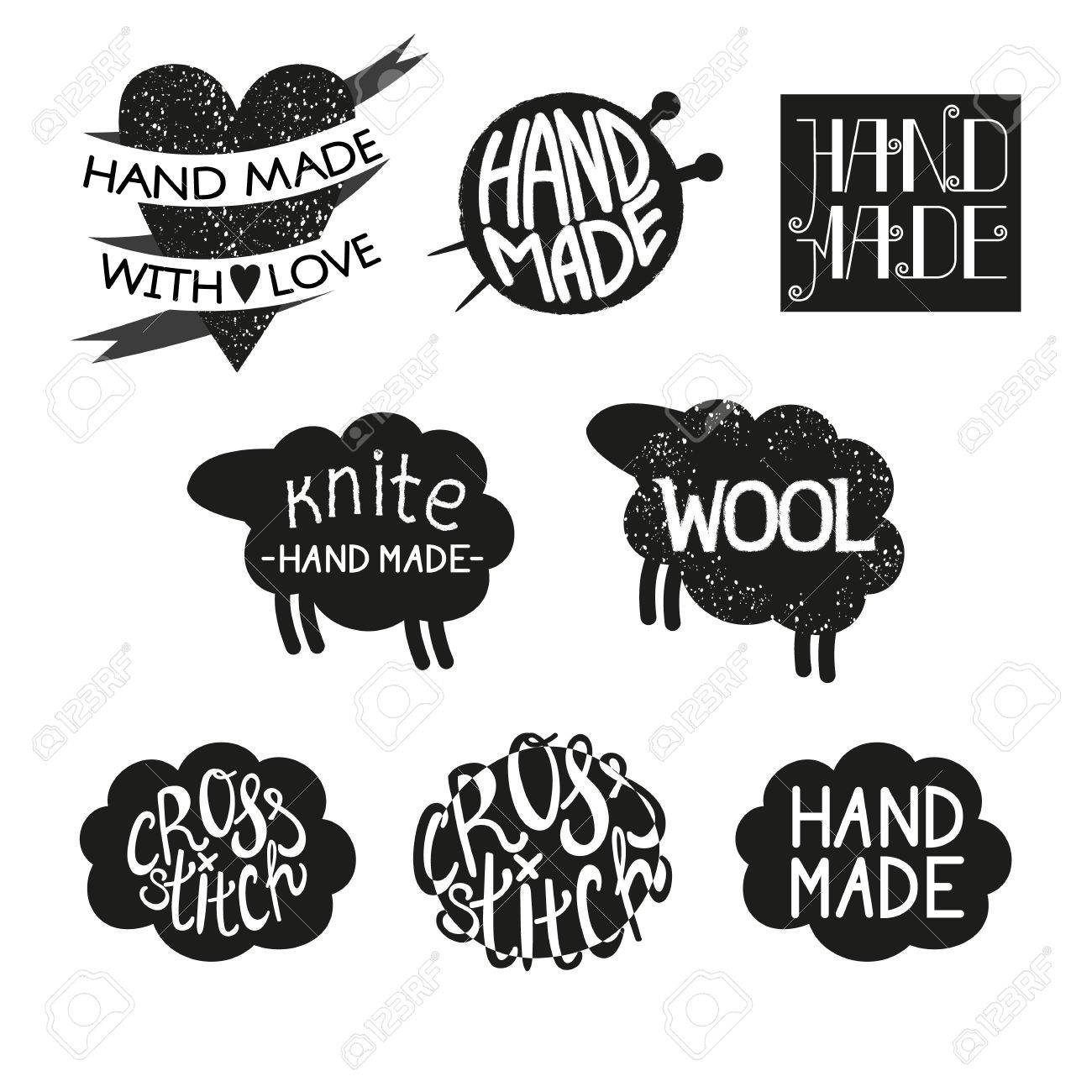 Set Of Different Styles Hand Made Logotypes Design Elements And Labels.  Hand Made, Made