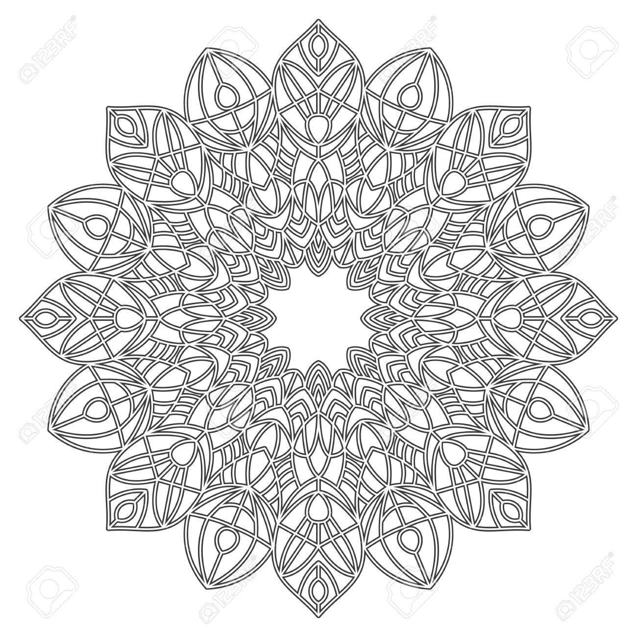 Dibujo Para Colorear Con La Mandala Elementos Decorativos étnicos Libro De Colorante Para Los Adultos Y Niños Mayores Esquema De Ilustración