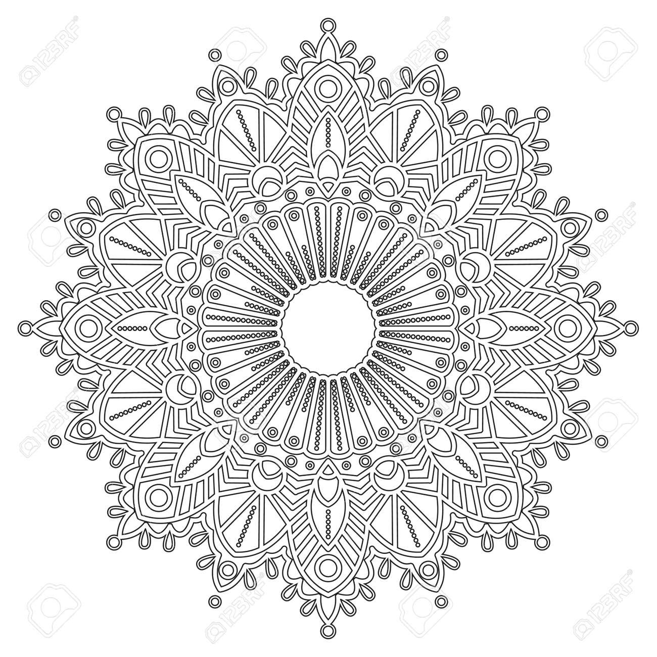 Vettoriale Pagina Da Colorare Con Mandala Elementi Decorativi