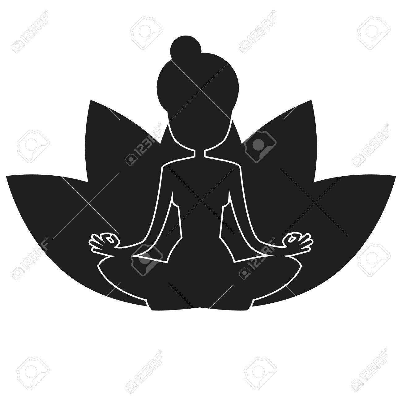 Vector Silhouette Of Yoga Woman Lotus Pose Lotus Flowers