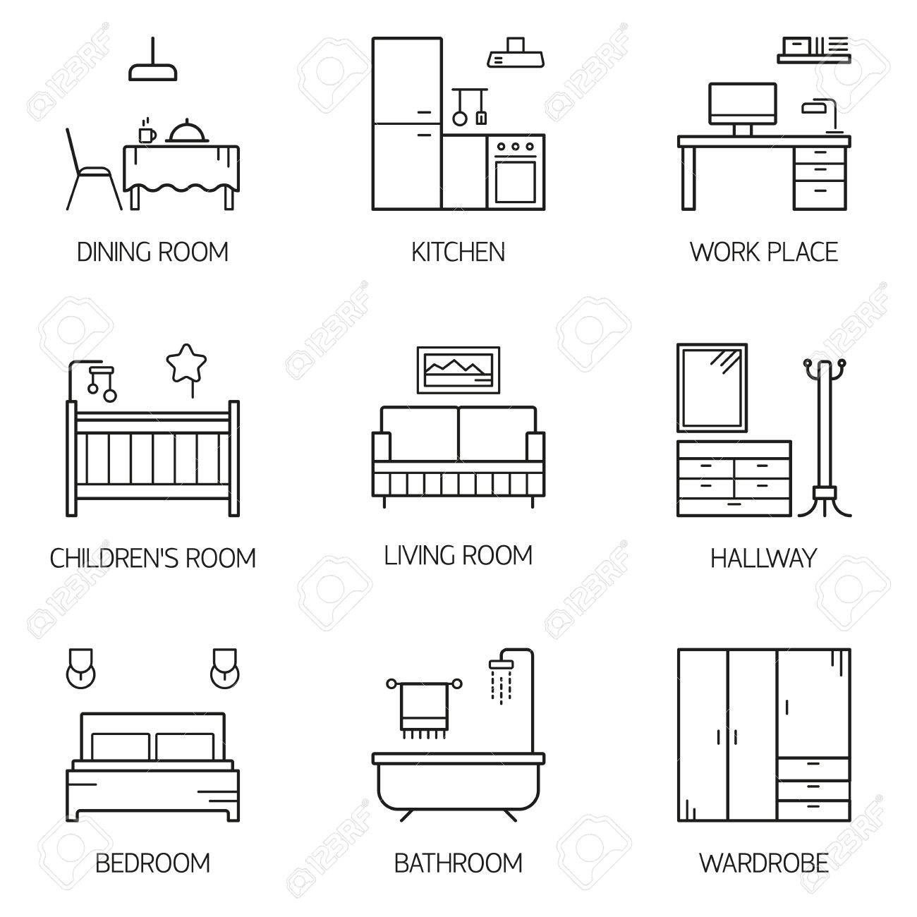 Set Of Line Vector Interior Design Room Types Icons. Linear Style  Illustrations. Living Room Part 40