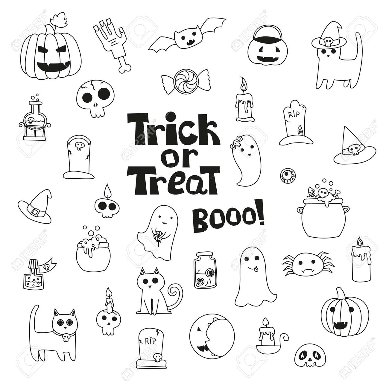 Cute Trick Or Treat Halloween Collection With Cats Pumpkin