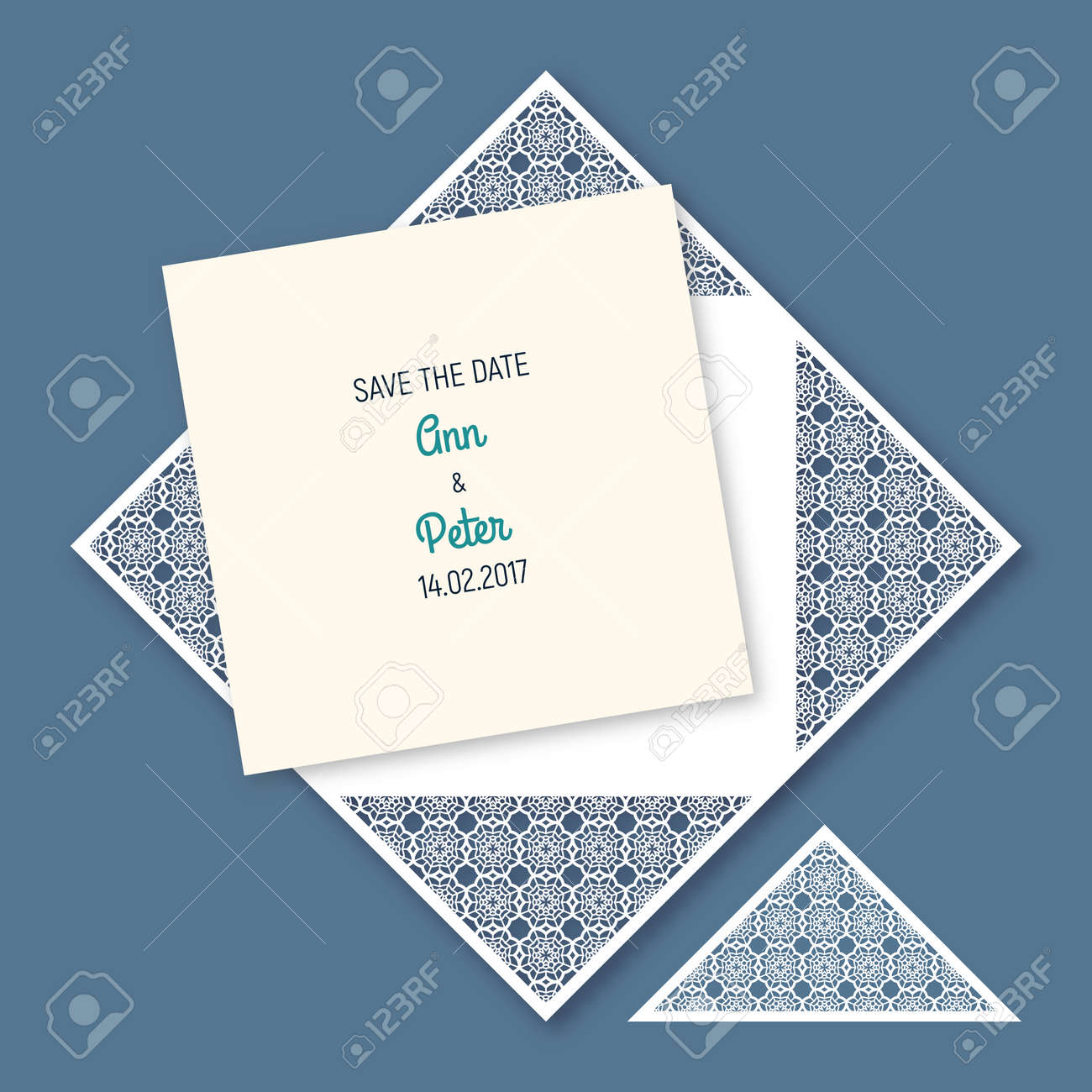 Wedding invitation with geometric pattern cut laser square envelope vector wedding invitation with geometric pattern cut laser square envelope template for greeting cards envelopes invitations vector paper cutting stopboris Choice Image